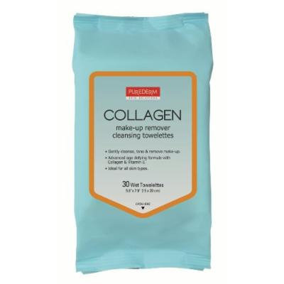 Purederm Makeup Remover Cleansing Towelettes (30 Towelettes Per Pack) (Collagen, 10 packs)