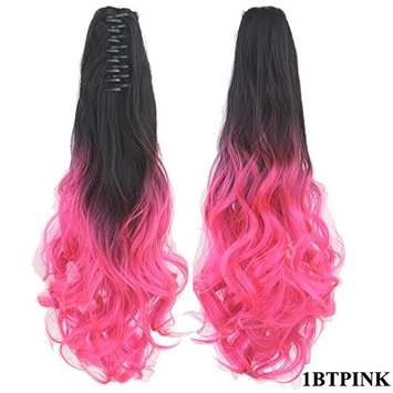 Women Gradient Colorful Long Curly Wavy Ponytail Claw Clip in Pigtail Heat Resistant Synthetic Fiber Hair Extensions 60 cm