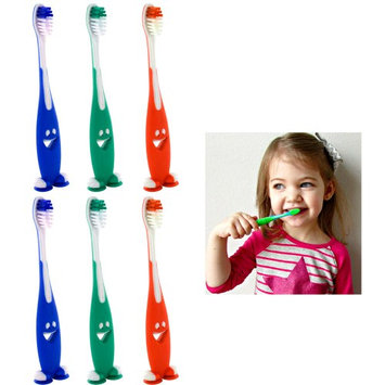 Atb 6 Smiley Happy Toothbrush Suction Cup Stand Soft Bristles Kids Toddler Oral Care