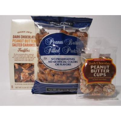 Trader Joe's Peanut Butter Lovers Trio - Peanut Butter Filled Pretzels, Dark Chocolate Peanut Butter Cups and Dark Chocolate Peanut Butter Salted Carmel. Three items