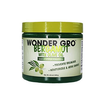 Wonder Gro Bergamot with Olive Oil Hair & Scalp Styling Conditioner, 12 fl oz - Prevents Breakage - Moisturizes & Adds Shine
