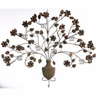 Benzara Creative Metal Tree and Votive Wall Sconce, Brown