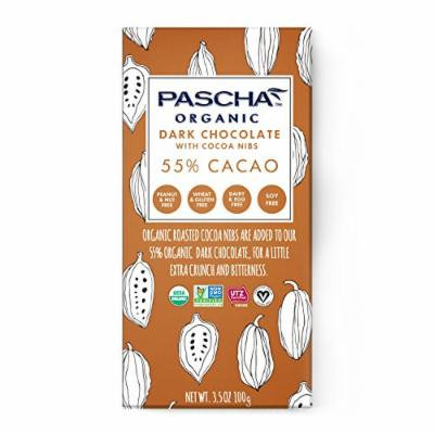Pascha Organic Dark Chocolate with Cocoa Nibs, 3.5 Ounce (Pack of 10)