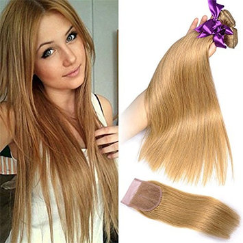 Honey Blonde Straight Human Hair Bundles With Closure #27 Pure Color Silky Straight Unprocessed Brazilian Virgin Hair Weave Extensions