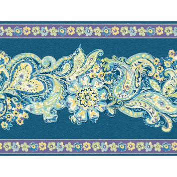 Blue Mountain Wallcoverings Blue Mountain Paisley and Floral Panel Wallcovering, Deep Blue/Purple/Bright Blue/Green