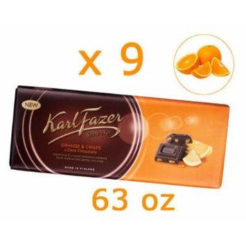 9 Bars of Karl Fazer Finland Dark Chocolate with Orange Crisps