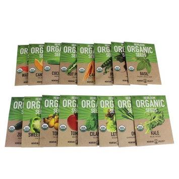 Certified Organic, Heirloom, Non-GMO Garden Seeds - Salad, Salsa, Fruit, Herb, Vegetable - Collection of 16 Varieties: C