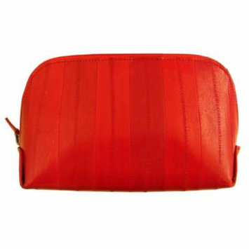 Genuine Eel Skin Leather Zip Around Cosmetic Makeup Pouch Red