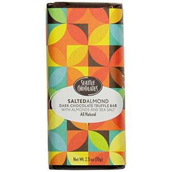 Seattle Chocolates Truffle Bar, Salted Almond, 2.5 Ounce (Pack of 12)