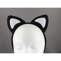 Black White soft faux fur furry cat kitten ears headband hair band costume