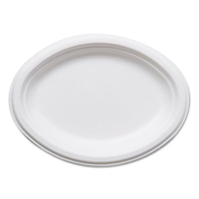 Eco Products ECOEPP009 - Eco-Products Renewable & Compostable Sugarcane Plates; Oval - 10