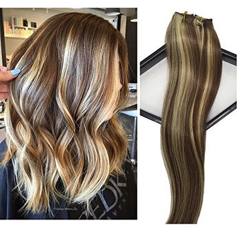 Labetti Clip in Human Hair Extensions 7 Pieces for Full Head Silky Straight Remy Weft Hair Chestnut Brown with Blonde Highlights