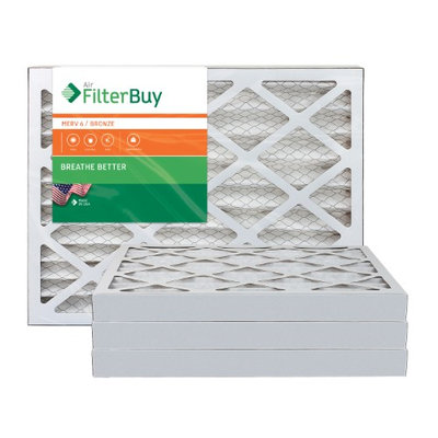 AFB Bronze MERV 6 16x25x2 Pleated AC Furnace Air Filter. Filters. 100% produced in the USA. (Pack of 4)