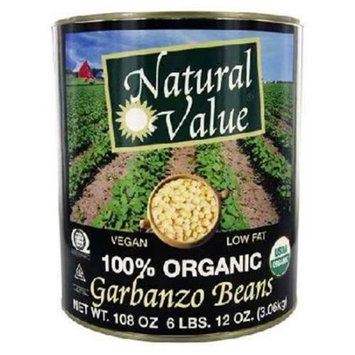 Natural Value BG16220 Natural Value Garbanzo Beans - 6x108OZ