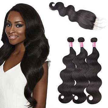 Kadoyee Human Body Wave Hair Unprocessed Brazilian Human Virgin Hair Extension with Closure Pure Color Glossy Texture Hair Weaving Pack of 3 Bundles for Full Head