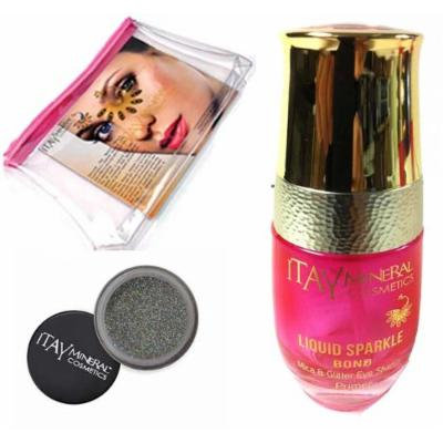 Itay Mineral Cosmetic Mica & Glitter Bond (New! Refillable Glass Bottle)+ Glitter Powder in Silver Sparkle G05+Cosmetic Bag (Bundle of 3 Items)