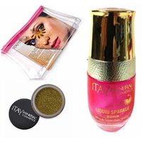 Itay Mineral Cosmetic Mica & Glitter Bond (New! Refillable Glass Bottle)+ Glitter Powder in Gold G06+Cosmetic Bag (Bundle of 3 Items)