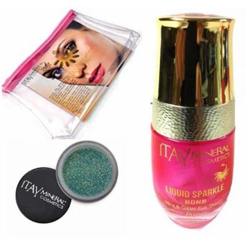 (Bundle of 3 Items) Liquid Sparkle Bond (New! Refillable Glass Bottle)+ Eye Shadow Glitter Powder in Blink Green G03+cosmetic Bag Itay Mineral Cosmetic