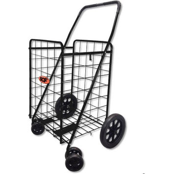 Lavohome Folding Shopping Cart SWIVEL Wheel Jumbo Black 360 Easy Rotation WITH FREE CARGO NET by SCF