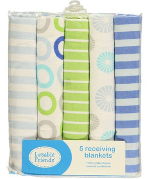 Luvable Friends Color Rings 5-Pack Receiving Blankets