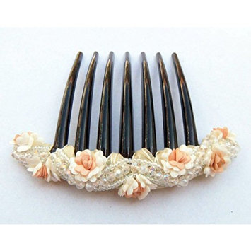 French twist hair comb Decorate Bead clear with Flowers made ​​from fabric