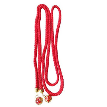 FANTAC CRAFTS 2 Pieces 47 Inches Vintage Red Hair Band Long String Hair Rope Ring Jingle Bell Accessories Inelastic Hair String