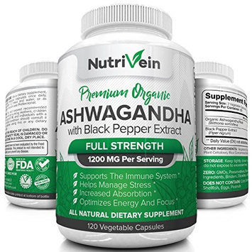 Nutrivein Organic Ashwagandha Capsules 1200mg - 120 Vegan Pills - Black Pepper Extract - 100% Pure Root Powder Supplement - Stress Relief, Anxiety, Immune, Thyroid & Adrenal Support - Mood Enhancer