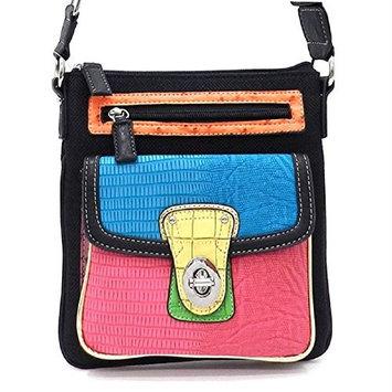 2Chique Boutique Color block Linen Cross Body Bag