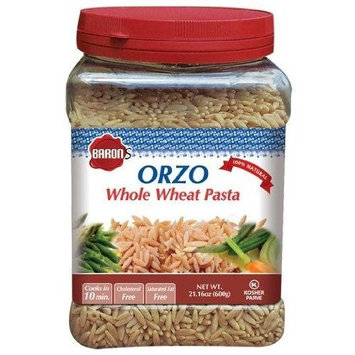 Baron's Kosher Orzo Whole Wheat Pasta 21.16-ounce Jars (Pack of 4)