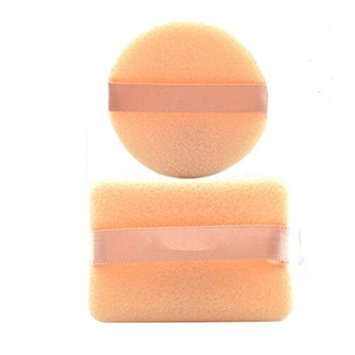 2PCS Beige Round And Square Shaped Soft Sponge Loose Powder Puff With Satin Ribbon Band For Makeup Cosmetic