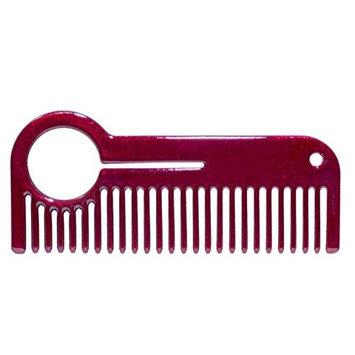 HEIRCOMB Red Metallic Stainless Steel Metal Beard Comb