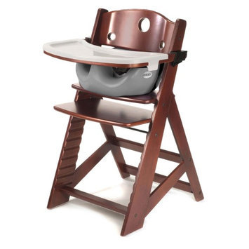 Keekaroo Height Right High Chair Mahogany with Black Infant Insert and Tray Grey