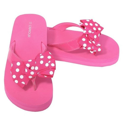 L'Amour Fuchsia Polka Dot Bow Wedge Flip Flops Sandals Little Girls 11-4