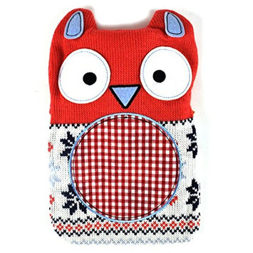 NPW Hot Buddies Patchwork Owl Hot Water Bottle w/ Removable Knit Sweater 750ml