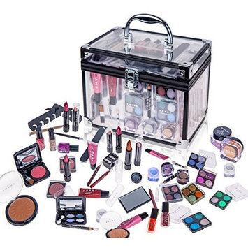 SHANY Carry All Trunk Professional Makeup Kit - Eyeshadow,Pedicure,manicure With Black Trim Clear Case [Holiday Set#2]