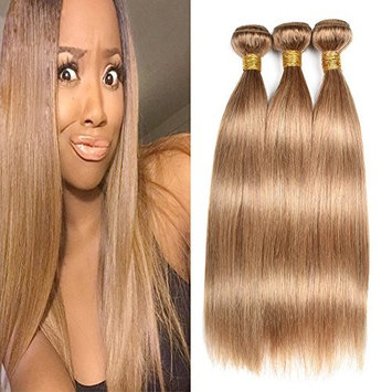 XCCOCO Hair Virgin Brazilian Siky Straight Hair Bundles Pure Color Honey Blonde(27#) Deal With Mixed Length 100% Human Hair Extensions(18 18 18inch,100g/pc)