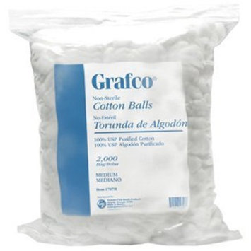 Grafco Cotton Balls: COTTON BALLS MEDIUM 2 BGS/CS, - 4000 EA/CS