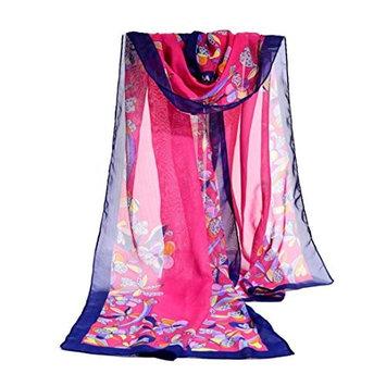 Datework Women Chiffon Soft Wrap Shawl Scarf (Hot Pink)