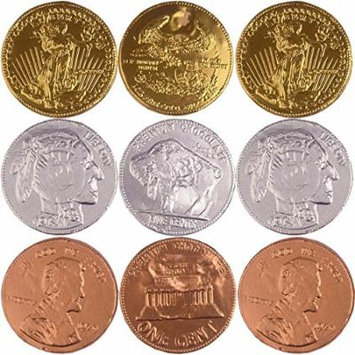 Extra Large Metallic Foiled Milk Chocolate Coins Assorted - 1 Pound Gold, Silver & Copper