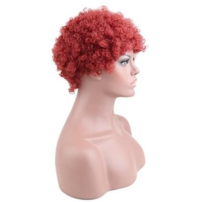 Razeal Synthetic Afro Curly Hair Wigs for Black Woman Short Kinky Hair Wine Red Heat Resistance Fiber 2