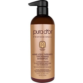PURA D'OR Professional Grade Thickening Shampoo Clinically Tested Hair Thinning Therapy Super Concentrated for Maximum Results, Sulfate Free Natural & Organic Ingredients, Men & Women, 16 Fl Oz