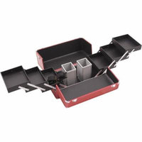 Hiker HK3201 3-Tier Professional Aluminum Case with Accordion Trays and 2 Brush Holders, 15-Inch, Crocodile Texture Printing, Red