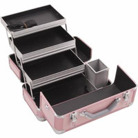 Hiker HK3101 3-Tier Professional Aluminum Case with Extendable Trays and Brush Holder, 15-Inch, Smooth Pattern, Pink