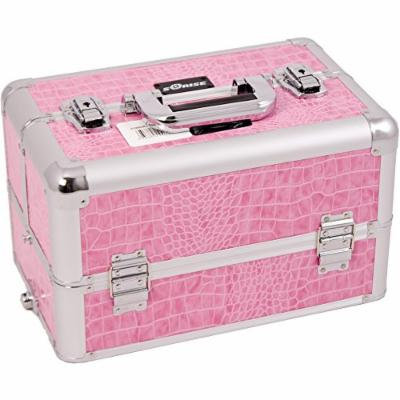SUNRISE Makeup Professional Case E3305 Aluminum, 3 Tier Tray, Locking with Mirror, Brush Holder and Shoulder Strap, Pink Crocodile