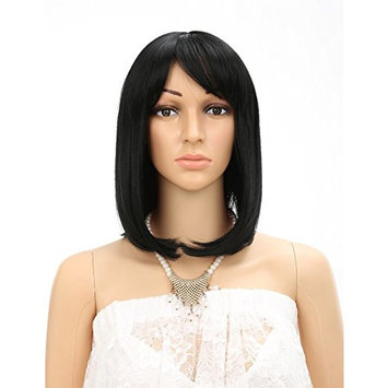 Fani 14 Inch Wigs Bob Wig with Flat Bangs For Women Yaki Straight Synthetic Wigs for Black Women Daily Wigs With Free Wig Cap
