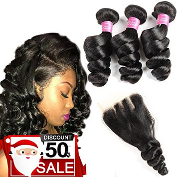 8A Brazilian Loose Wave Virgin Hair 3 Bundles with Closure 100% Unprocessed Human Hair Weave Bundles Loose Curly with 4X4 Lace Closure Pieces Top Extensions (22