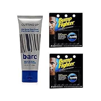 Barc Cutting Up, Unscented Shave Cream, 2 Oz + Bump Fighter Cartridge Refill, 5 Ct (Pack of 2) + FREE LA Cross 71817 Tweezer