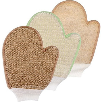 Maxdot 3 Pieces Bath Exfoliating Shower Gloves Scrubbing Dry SPA Mitts Kit Bamboo Loofah Sisal Jute Shower Gloves, 3 Styles