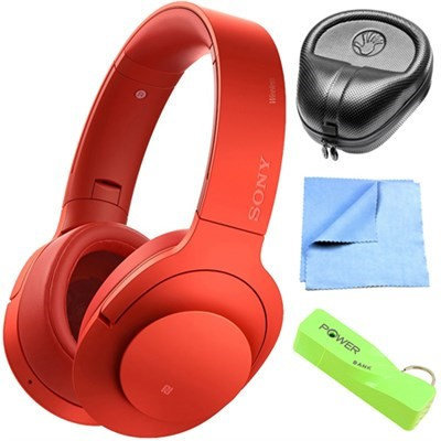 Sony Wireless NC On-Ear Bluetooth Headphone w/ NFC Cinnabar Red w/ Power Bank Bundle