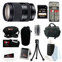 Sony SEL18200LE 18-200mm f/3.5-6.3 Zoom Lens Bundle with Sony 64GB SD Card + Deluxe SLR Bag + Lens Pouch + Accessory Kit